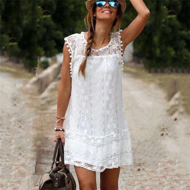 Dress O-neck Casual Lace Sleeveless Beach Short Dress