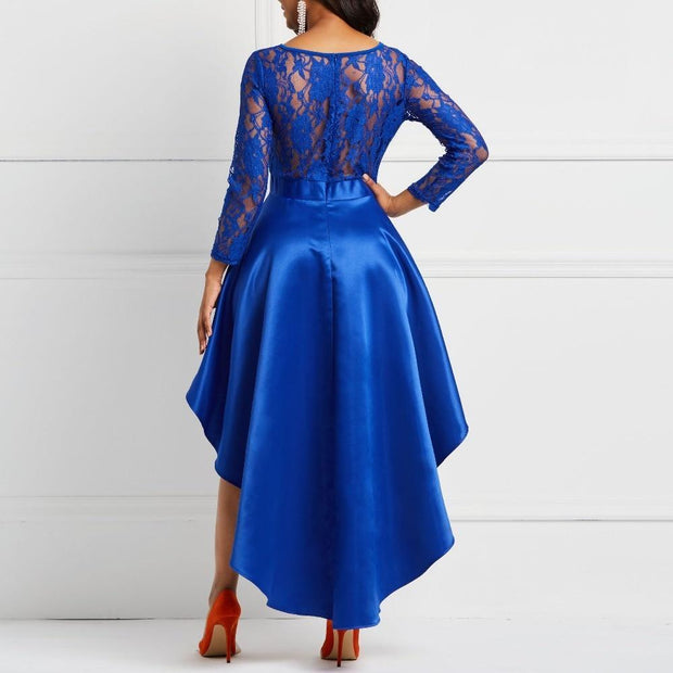 Evening Party Date Asymmetric Satin Hollow Out Floral Lace Long Dress