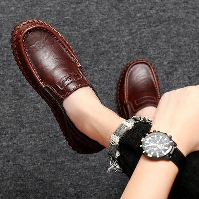 Men Genuine Leather Shoes Slip On Black Shoes Real Leather Loafers Man Moccasins
