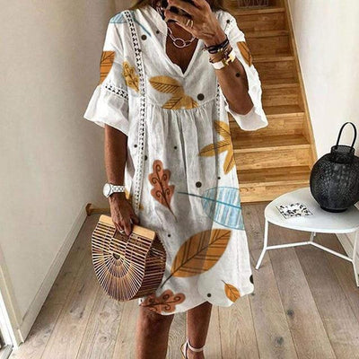Women Sexy Hollow Out V-neck Mini Dress Floral Print Patchwork Dress Casual Beach Dress