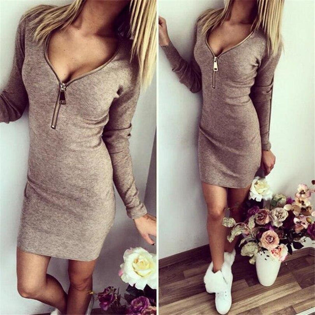 Zipper Front Deep Sheath V Neck Bodycon Dress
