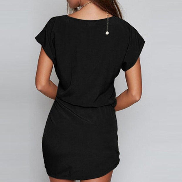 Women Short Sleeve Lace Up Casual Irregular O Neck Dresses