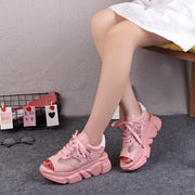 Fashion Women Platform Wedges Thick Heel Lace Up Shoes Fish Mouth Sandals