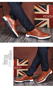 Men Shoes Casual Leather Fashion Trendy Black Blue Brown Flat Shoes