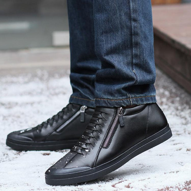 Men Boots Warm Plush Mens Winter Shoes Fashion Men Snow Boots Zipper Male Ankle Boots Black Cotton Inside Men Shoes
