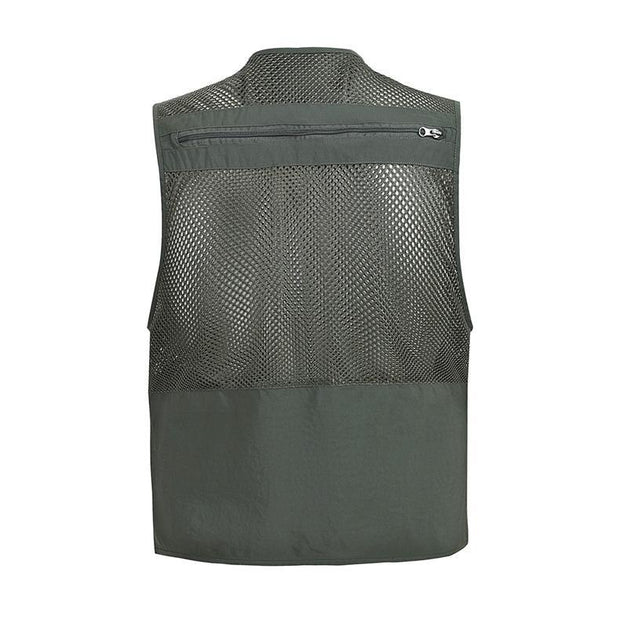 Mens Mesh Vest Casual Thin Breathable Multi Pocket Waistcoat Vest With Many Pockets