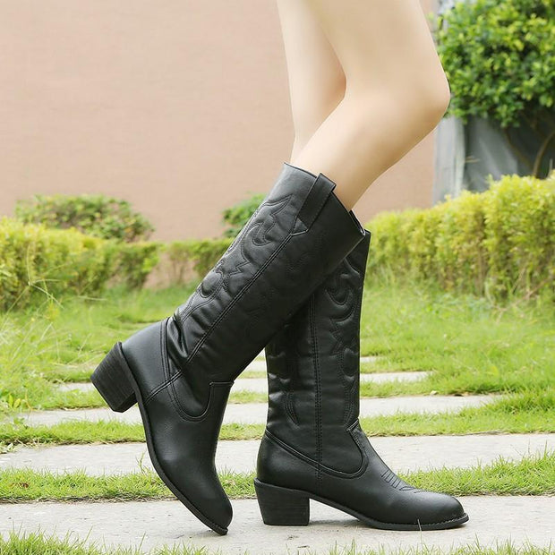 Vintage PU Leather Cowboy Boots for Women Fur Inside Slip on Riding Mid-Calf Booties Plus Size