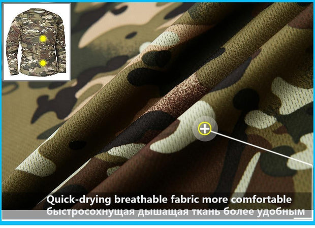 Men Long Sleeve Tactical Camouflage T-shirt camisa masculina Quick Dry Military Army shirt