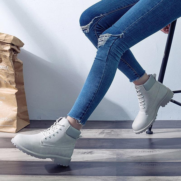Autumn Early Winter Shoes Women Flat Heel Boots Fashion Keep warm Women's Boots Brand Woman Ankle Botas