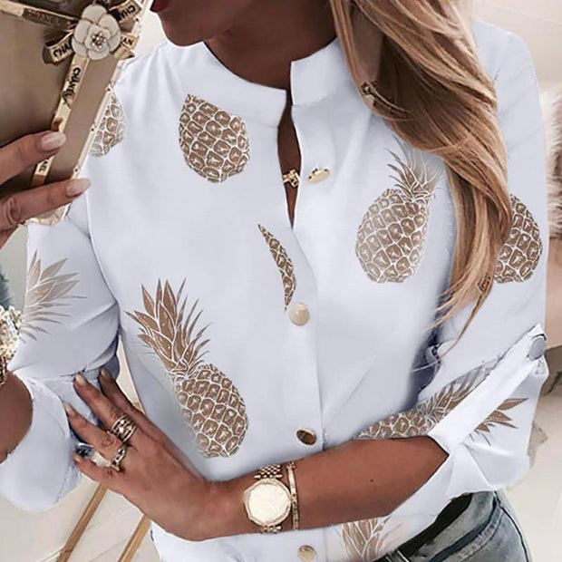Women Ananas White Long Sleeve Blouses Tops Elegant Top