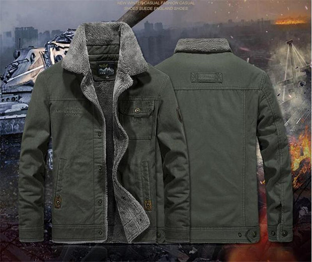 Men Brand Bomber Jacket 2019 Autumn Winter Thick Warm Military Jacket Men Fur Collar Plus Size 6XL Fleece Coat Jaqueta Masculina