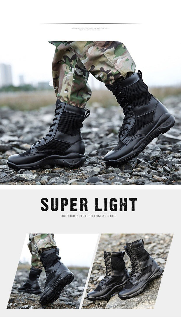 Fashion Men Military Boots Waterproof Breathable Leather Tactical Boots