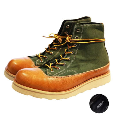 Full Grain Leather Boots Lace Up Designer Ankle Patchwork Italian Short Men Booties Canvas