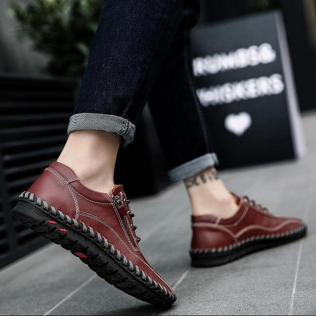 Zip Mens Loafers Fashion Breathable Men Flats Genuine Leather Casual Shoes Designers Moccasins Men Shoes