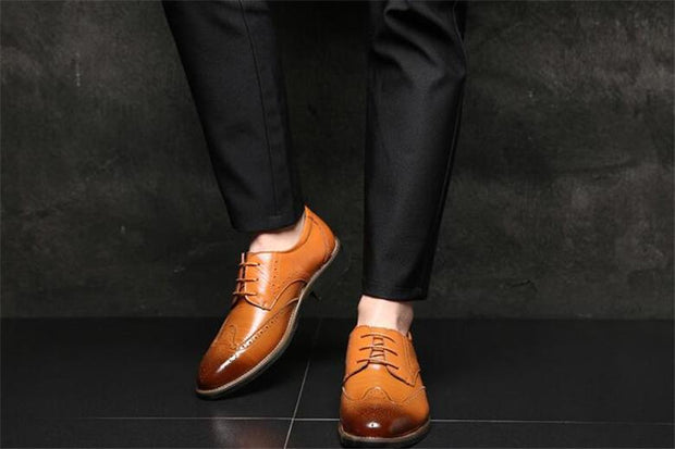 Men Fashion Flat Casual Shoes Leather Oxfords Shoes
