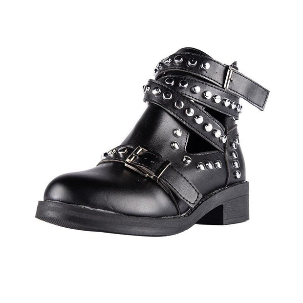 Women Black Ankle Boots Buckle Strap Rivet Shoes Female Pu Leather Motorcycle Boots Punk Boots