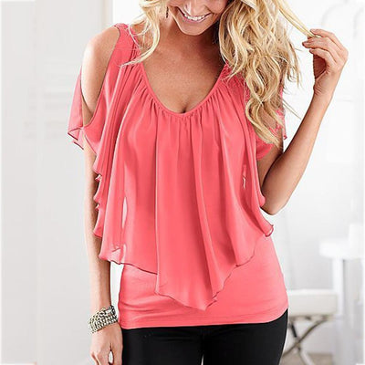 Women Sexy V Neck Cold Shoulder Ruffle Chiffon Solid Pleated Tops Plus Size Blouse Shirt