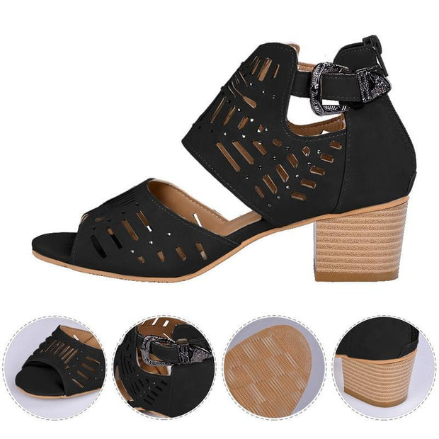 Women Fashion Vintage Hollow Out Peep Toe Square Heel Wedges Sandals High Heels Sandals Shoes