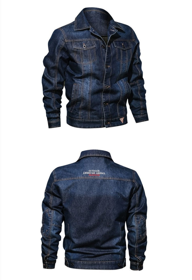 Denim Jacket Men's Lapel Embroidery Casual Mens  Jeans Jackets Multi-pocket Male Cowboy Coats