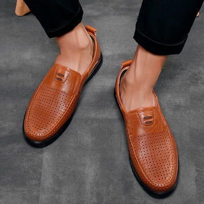 New Openwork Men Black Loafer perforated Shoes Leather flats driving shoes business men's shoes