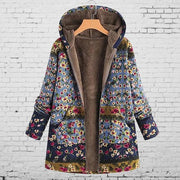 Womens Coat Winter Warm Outwear Floral Print Hooded Pockets Vintage Oversize Casual Outwear Plus Size