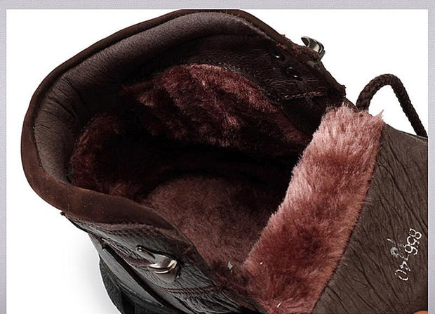 Men's Boots High Quality Super Warm Winter Footwear Men Snow Boots Genuine Leather Men Shoes Men Military Fur Boots