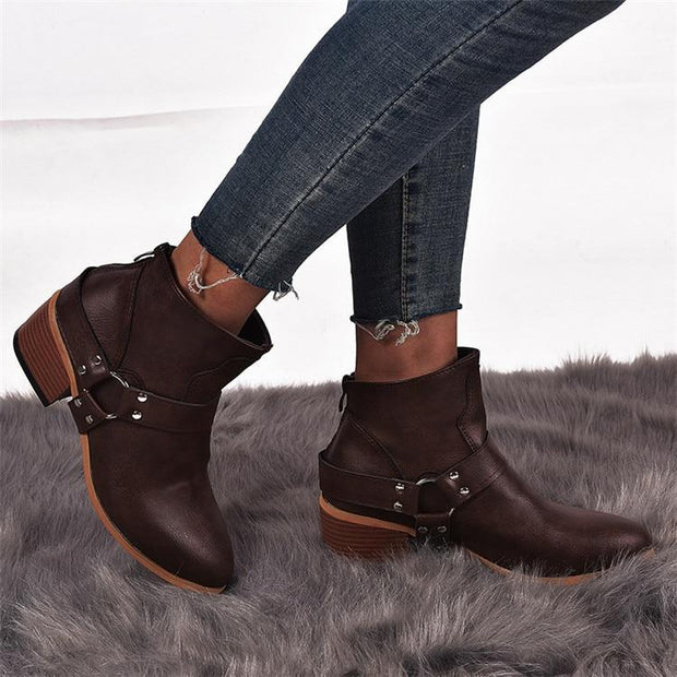 Women Boots Vintage Leather High Heels Shoes Bota Woman Autumn Short Boot Winter Buckle Daily Ankle Boots