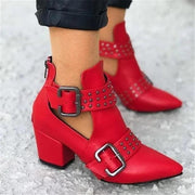 Women Cut Out Booties Rivet Buckle Strap Back Zipper Leather Stitch Ankle Casual Boots Female Shoes