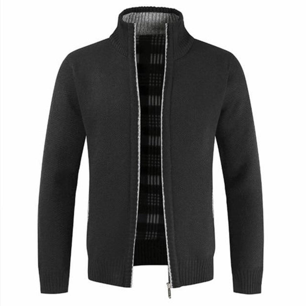 Autumn Winter New Men's Jacket Slim Fit Stand Collar Zipper Jacket Men Solid Cotton Thick Warm Jacket