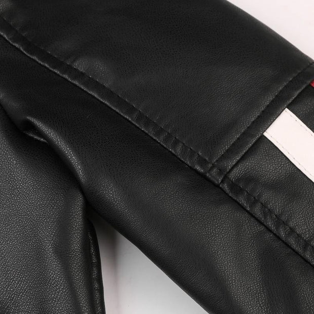 Men's Leather Jacket Casual Fashion Stand Collar Motorcycle Jacket Zipper High Quality Leather Jacket
