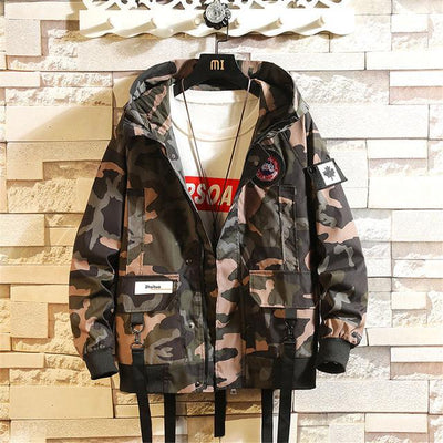 Camouflage Multi-Pocket Hooded Jackets Men Fashion Street Brand Long-sleeved Home Leisure Trend Port Wind