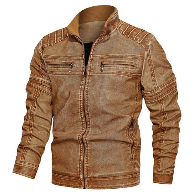 Leather Jacket Men Fashion Top Quality Mens Jackets Casual Faux Leather Moto Jacket
