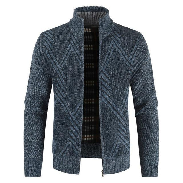 Autumn Winter Mens Sweater Casual Stand Collar Thick Cardigan Men Fashion Warm Sweater Coats
