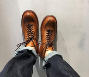 Vintage Genuine Leather Boots Full Grain Ankle Designer Shoes Men High Quality Fall Booties Short Brown Lace Up