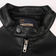 Men's Leather Jacket Casual Fashion Stand Collar Motorcycle Jacket Men Patchwork Quality Leather Jacket