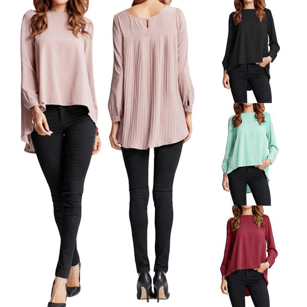 Corachic.com - Chiffon Blouse Pleated Back Long Sleeve Asymmetric Shirt Loose Casual Plus Size Tops - Blouse & Tops