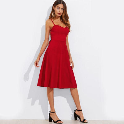 Corachic.com - Belted Criss Cross Back Cut Out Red Dress Spaghetti Strap Backless Midi Dress - Dresses