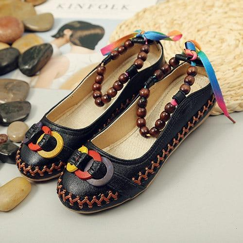 Beaded Strap Women Canvas Ballet Flats Back Lace Up Handmade Flats