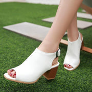 Women Soft Leather Sandals Concise Peep Toe Buckle Solid Boots Thick Heels Sandal Shoes