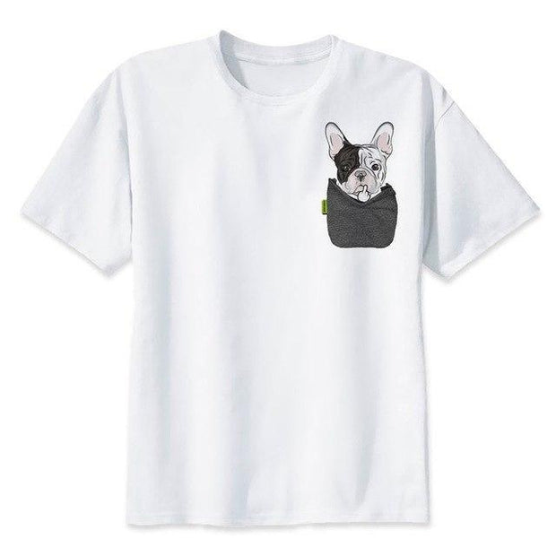 Corachic.com - French Bulldog Casual White Printed Short Sleeve T-shirt For Men/Women Tops Tees - Tops