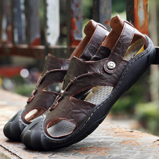 Mens Genuine Split Leather Beach Sandals Sneakers Men Slippers Flip Flops Summer Shoes