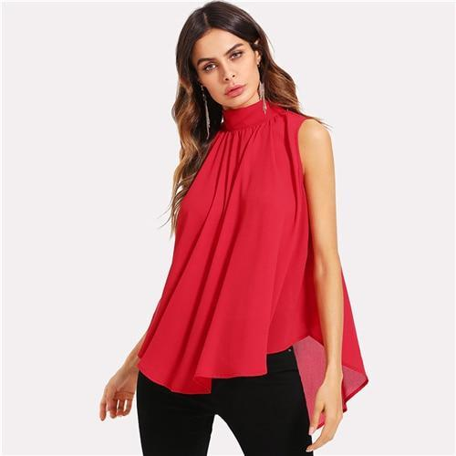 Mock Neck Pleated Front High Low Top Summer Stand Collar Sleeveless Chiffon Blouse