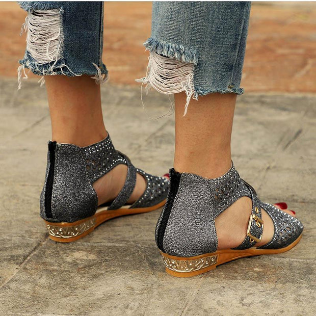 Women Wedges Heel Buckle Strap Gladiator Sandals Peep Toe Low Heels Sandals