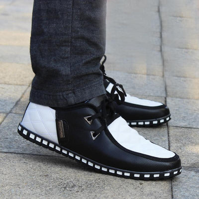 Men's Casual Flats Shoes Lace-up Cotton Padded PU Leather Flats Shoes