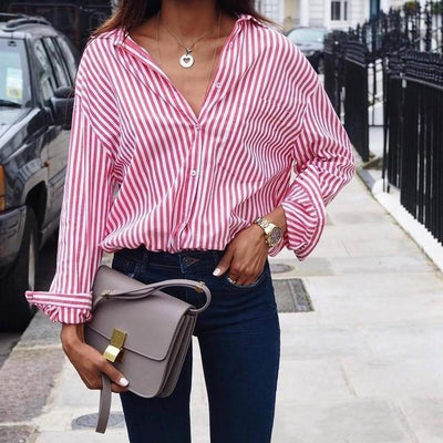 Women Sexy Striped Shirt Loose Autumn Fall Casual Ladies Plus Size Blouses Top