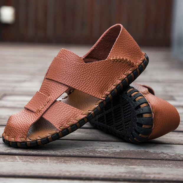 Men Beach Sandals Handmade Genuine Leather Roman Sandals Shoes