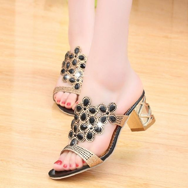 Corachic.com - Women Slippers Sandals Crystal Peep Toe Middle Heels Sandals