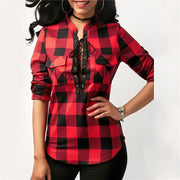 Corachic.com - Women Plaid Shirts Long Sleeve Blouses Cotton Lace Up Tunic Casual Tops Plus Size