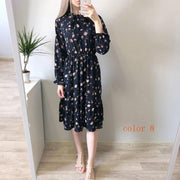 Corachic.com - Chiffon High Elastic Waist Party Dress Bow A-line Full Sleeve Flower Print Bohemian Dress - Dresses