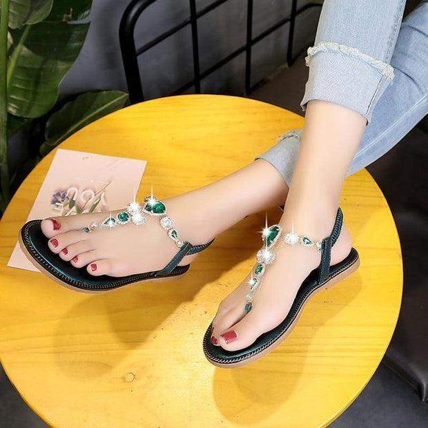 Rhinestone Summer Women Rubber Sandals Slip-On Flats Shoes